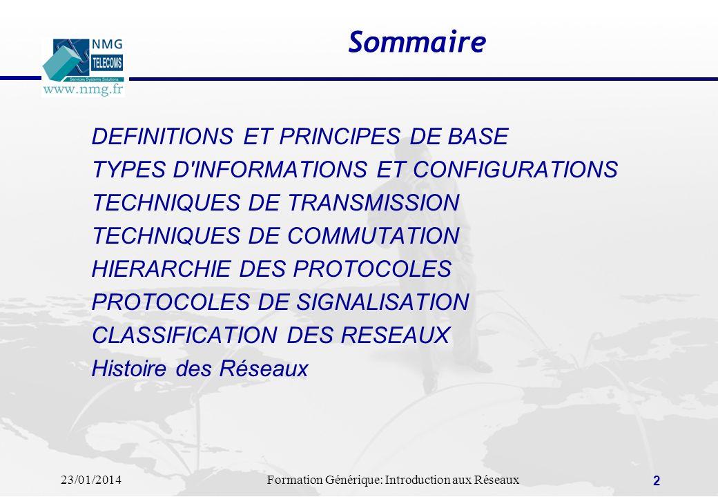 Sommaire DEFINITIONS ET PRINCIPES DE BASE