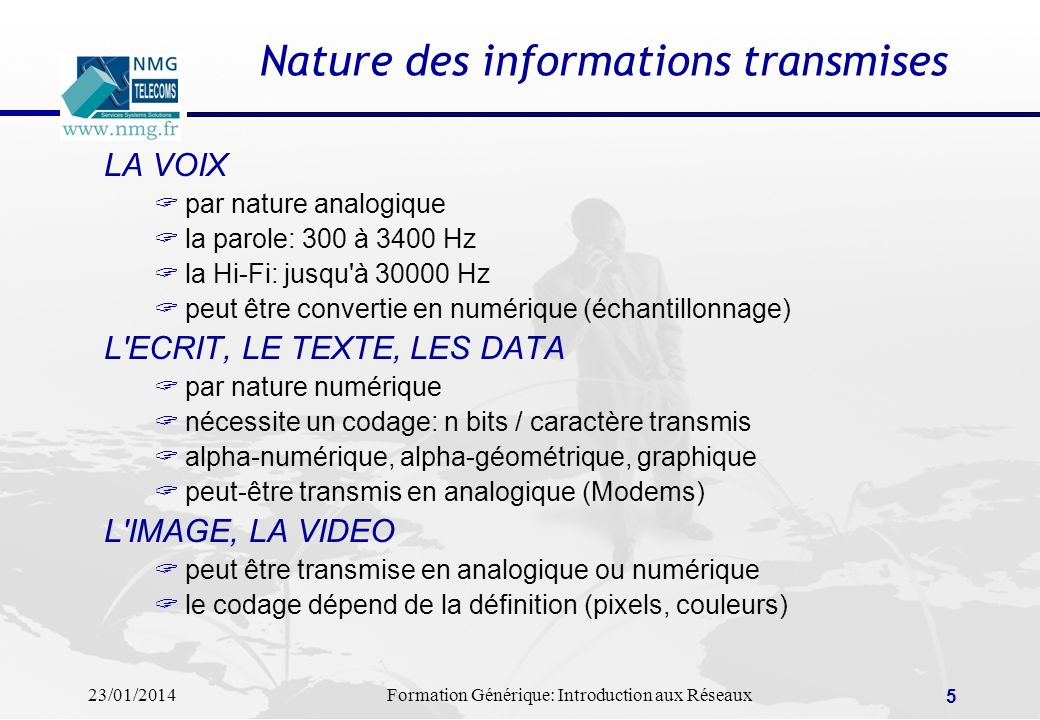 Nature des informations transmises