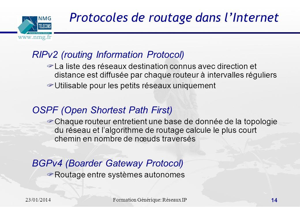 Protocoles de routage dans l'Internet