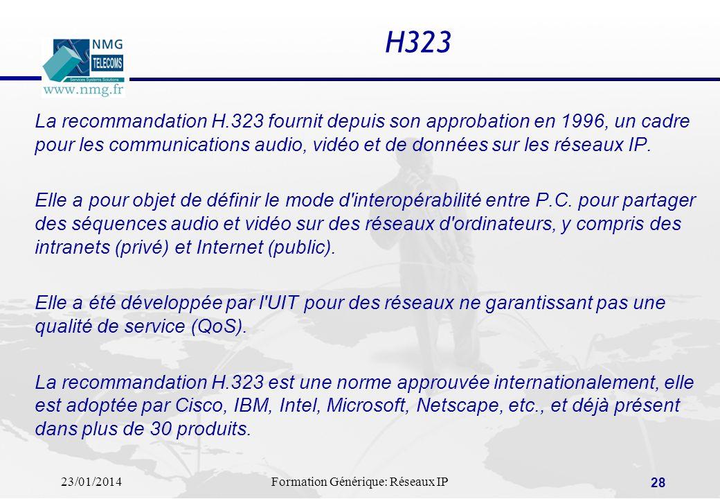 H323 La recommandation H.323 fournit depuis son approbation en 1996, un cadre pour les communications audio, vidéo et de données sur les réseaux IP.