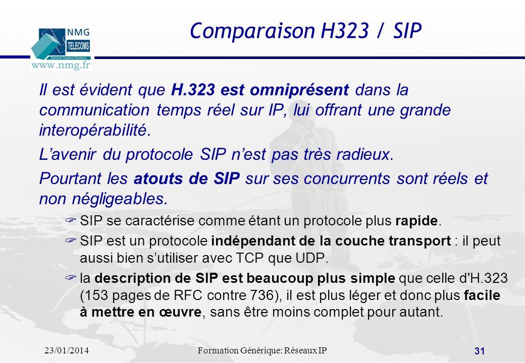 Comparaison H323 / SIP Il est évident que H.323 est omniprésent dans la communication temps réel sur IP, lui offrant une grande interopérabilité.