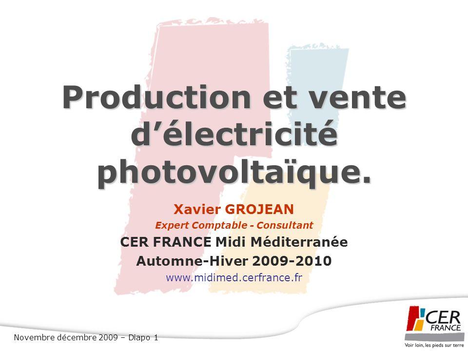 Production et vente d'électricité photovoltaïque.