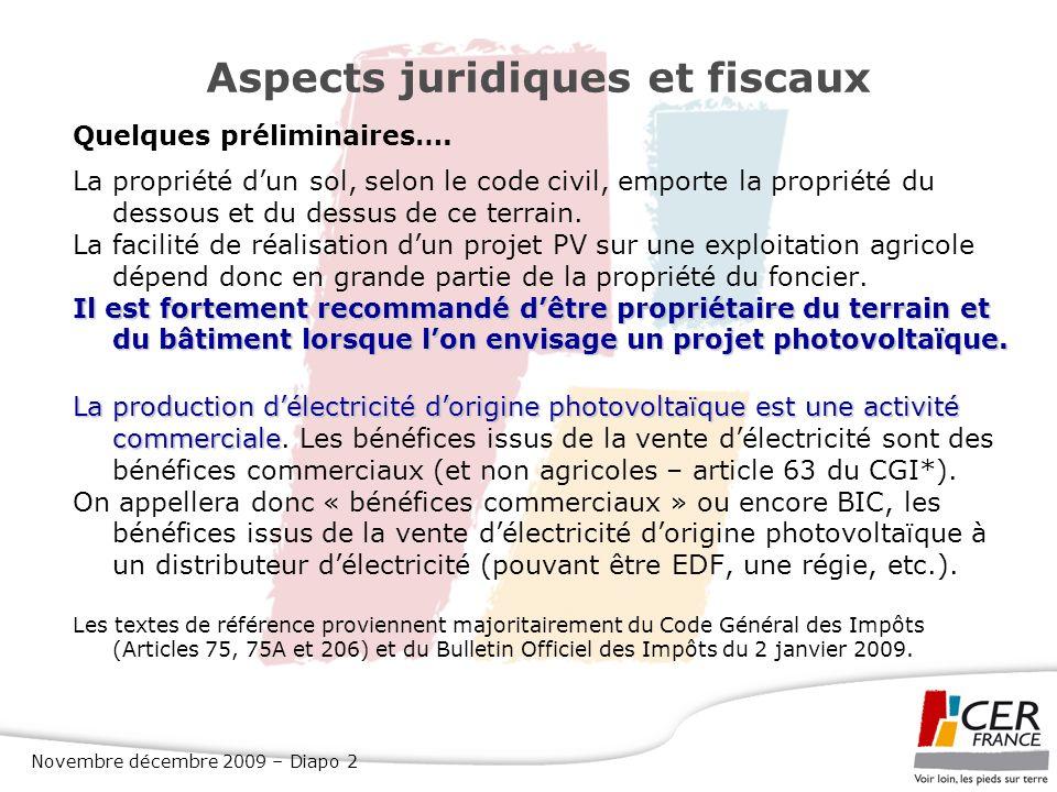 Aspects juridiques et fiscaux