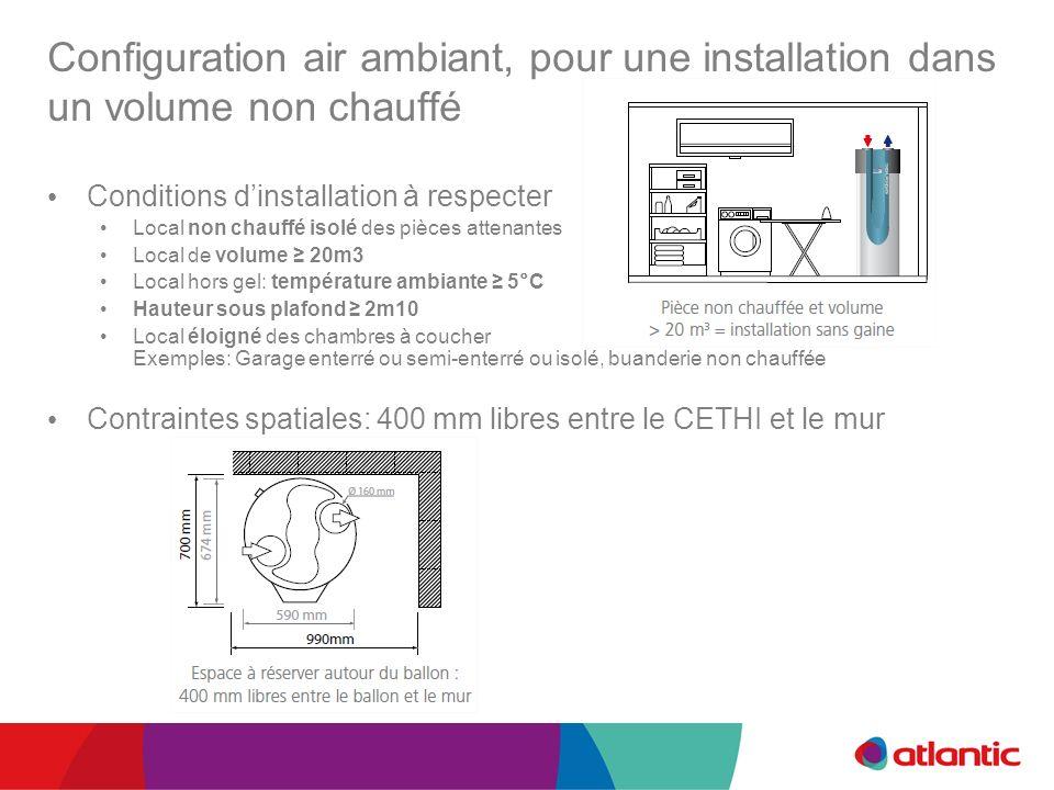 Configuration air ambiant, pour une installation dans un volume non chauffé