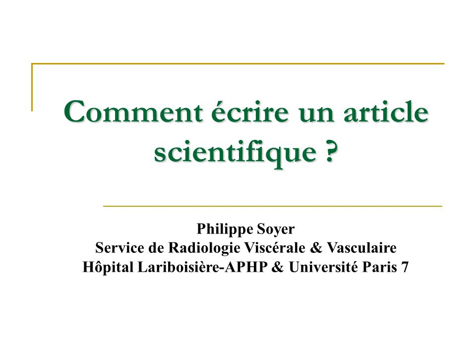 Comment écrire un article scientifique