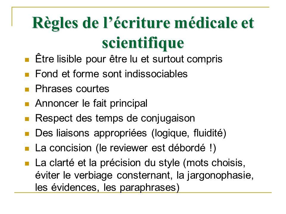 Règles de l'écriture médicale et scientifique