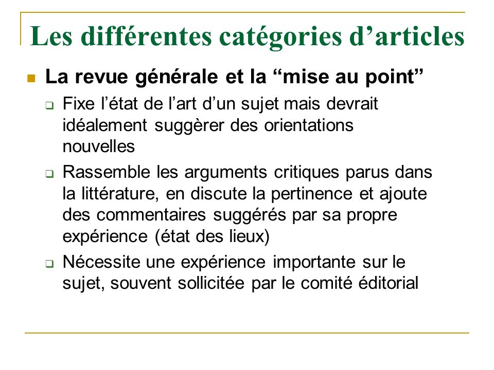 Les différentes catégories d'articles