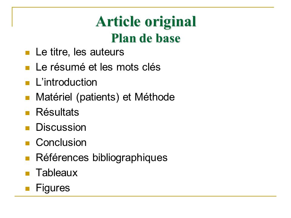 Article original Plan de base