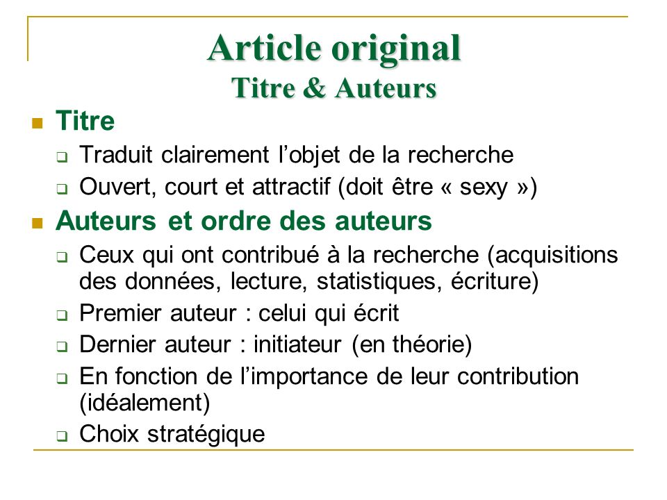 Article original Titre & Auteurs