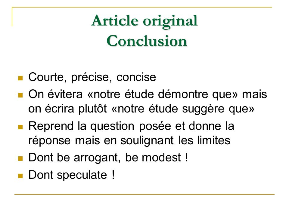 Article original Conclusion