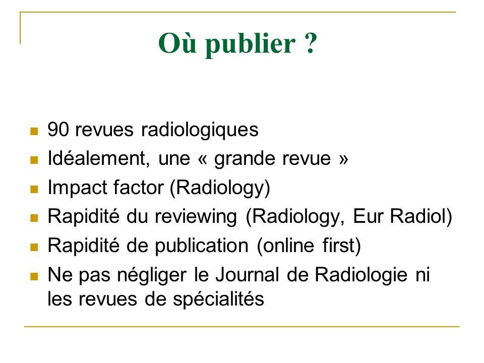 Où publier 90 revues radiologiques Idéalement, une « grande revue »