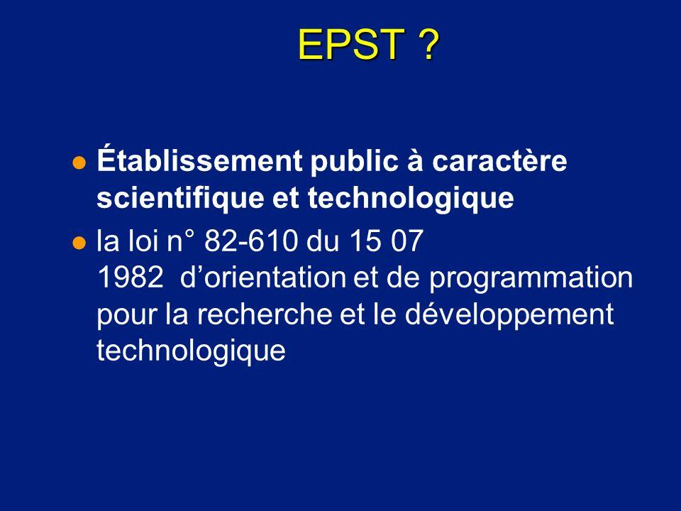 EPST Établissement public à caractère scientifique et technologique