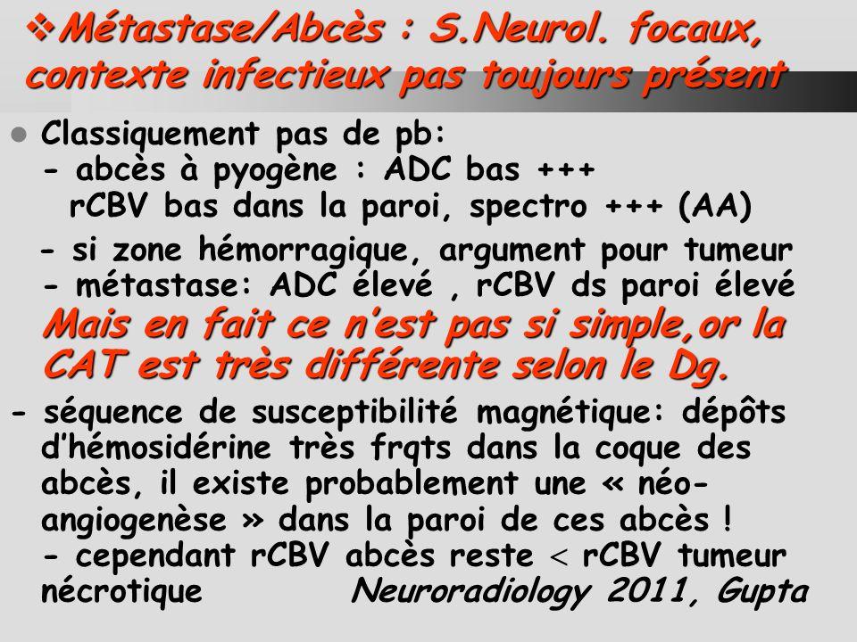 Métastase/Abcès : S. Neurol