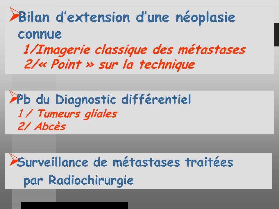 Bilan d'extension d'une néoplasie connue 1/Imagerie classique des métastases 2/« Point » sur la technique