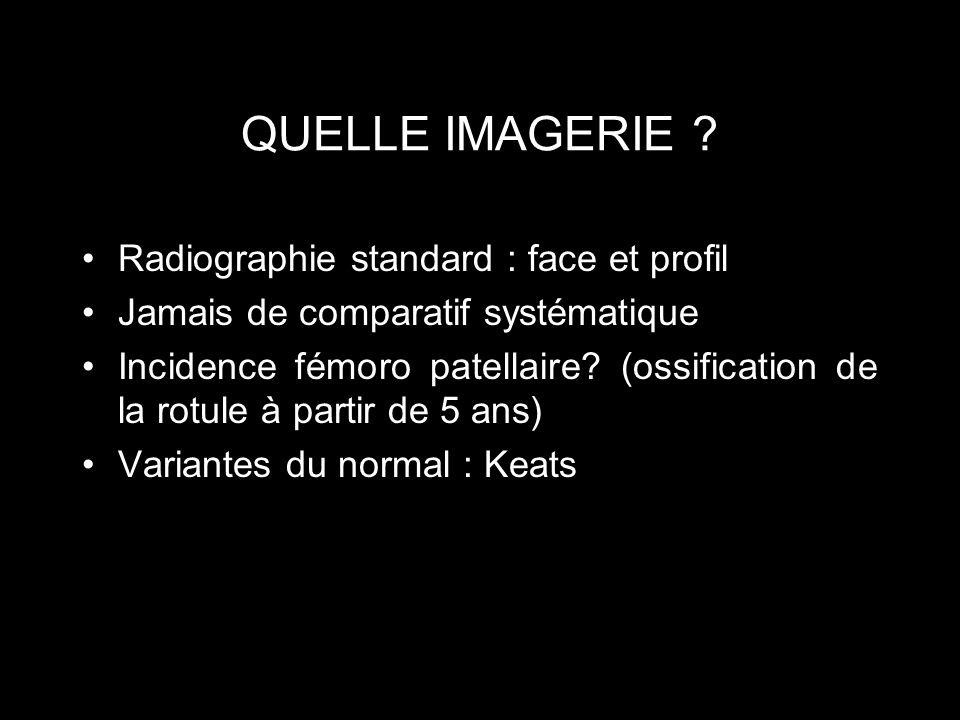QUELLE IMAGERIE Radiographie standard : face et profil