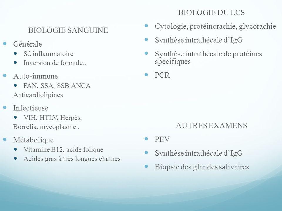 Cytologie, protéinorachie, glycorachie Synthèse intrathécale d'IgG