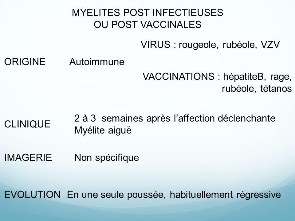 MYELITES POST INFECTIEUSES