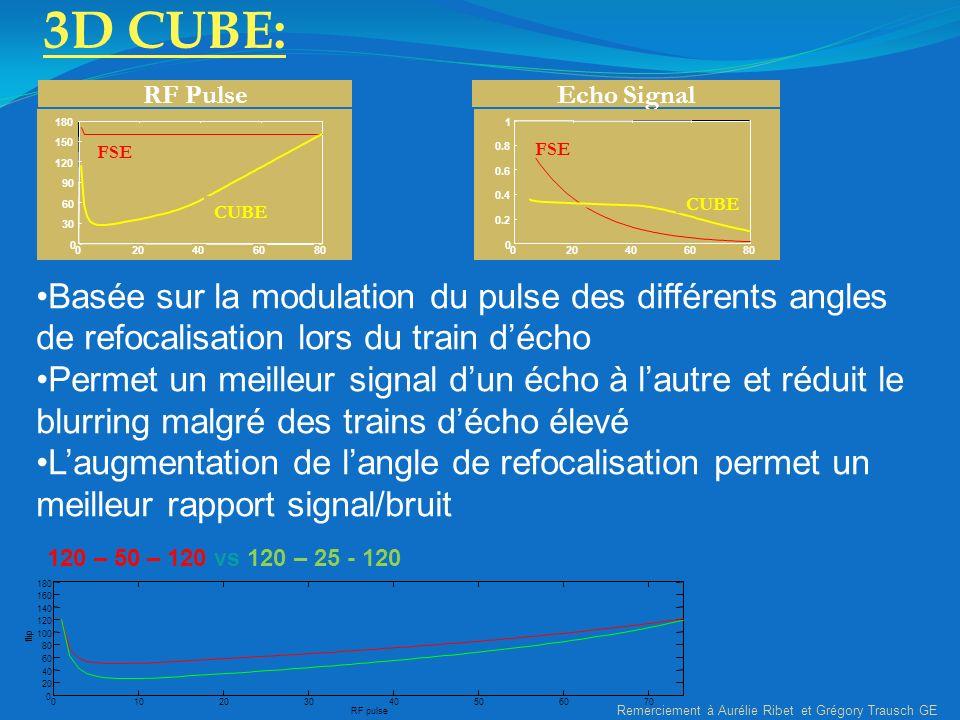 3D CUBE: RF Pulse. 20. 40. 60. 80. 30. 90. 120. 150. 180. FSE. CUBE. Echo Signal. 20. 40.