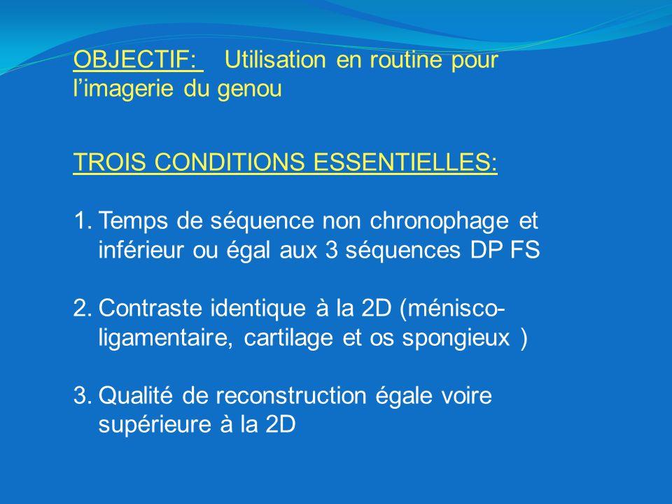 OBJECTIF: Utilisation en routine pour l'imagerie du genou