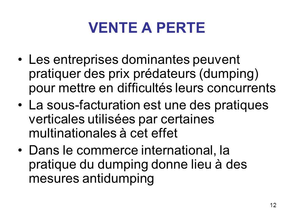 VENTE A PERTE Les entreprises dominantes peuvent pratiquer des prix prédateurs (dumping) pour mettre en difficultés leurs concurrents.