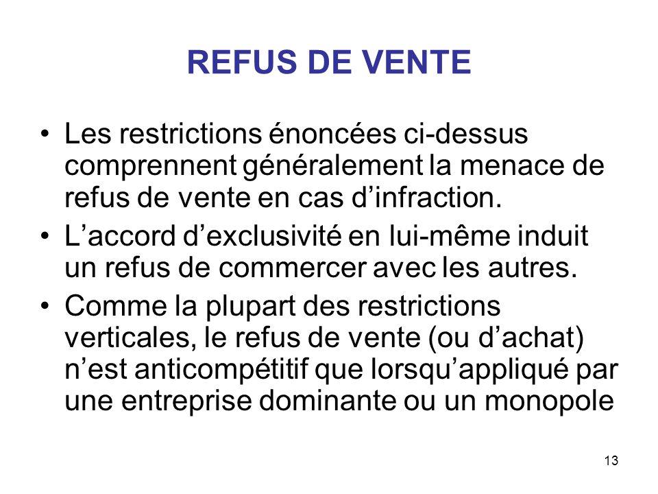 REFUS DE VENTE Les restrictions énoncées ci-dessus comprennent généralement la menace de refus de vente en cas d'infraction.