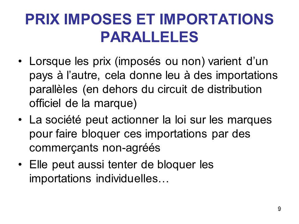 PRIX IMPOSES ET IMPORTATIONS PARALLELES