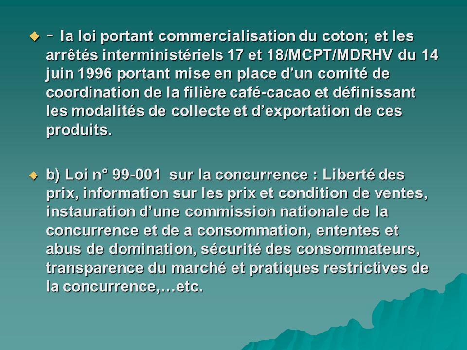 - la loi portant commercialisation du coton; et les arrêtés interministériels 17 et 18/MCPT/MDRHV du 14 juin 1996 portant mise en place d'un comité de coordination de la filière café-cacao et définissant les modalités de collecte et d'exportation de ces produits.