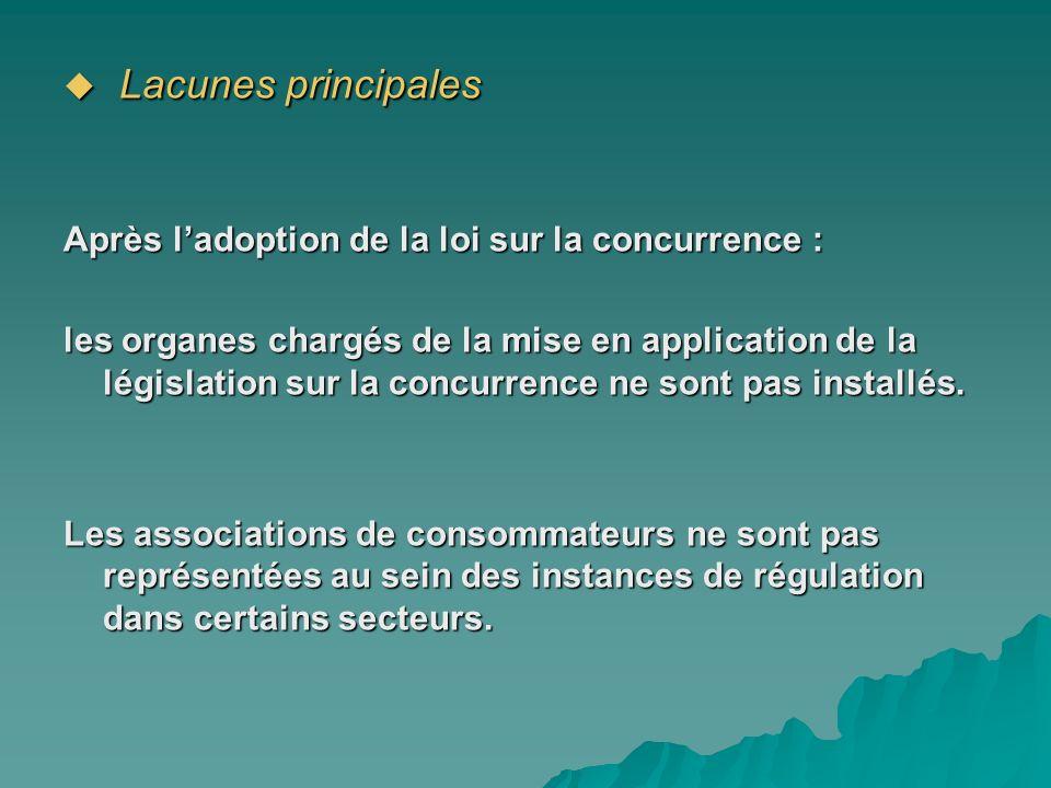 Lacunes principales Après l'adoption de la loi sur la concurrence :