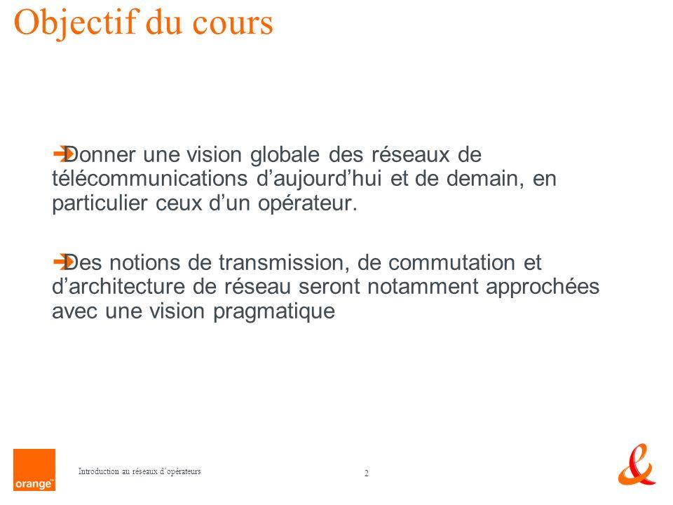 Objectif du cours Donner une vision globale des réseaux de télécommunications d'aujourd'hui et de demain, en particulier ceux d'un opérateur.