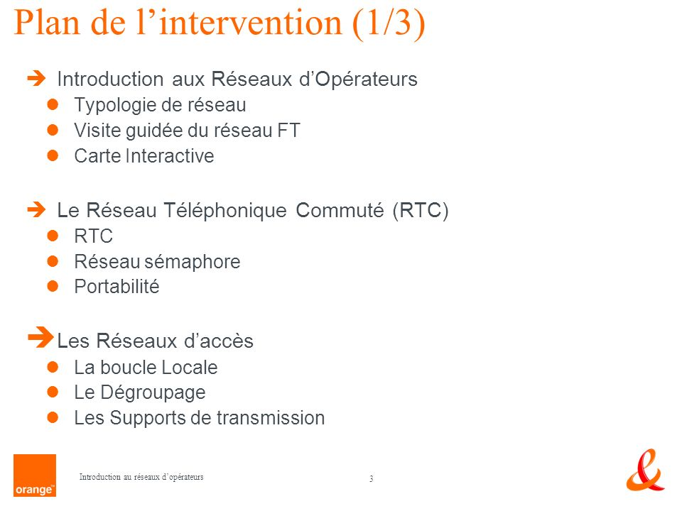 Plan de l'intervention (1/3)