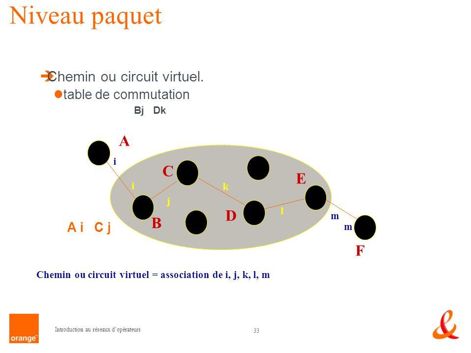 Niveau paquet A C E D B F Chemin ou circuit virtuel.