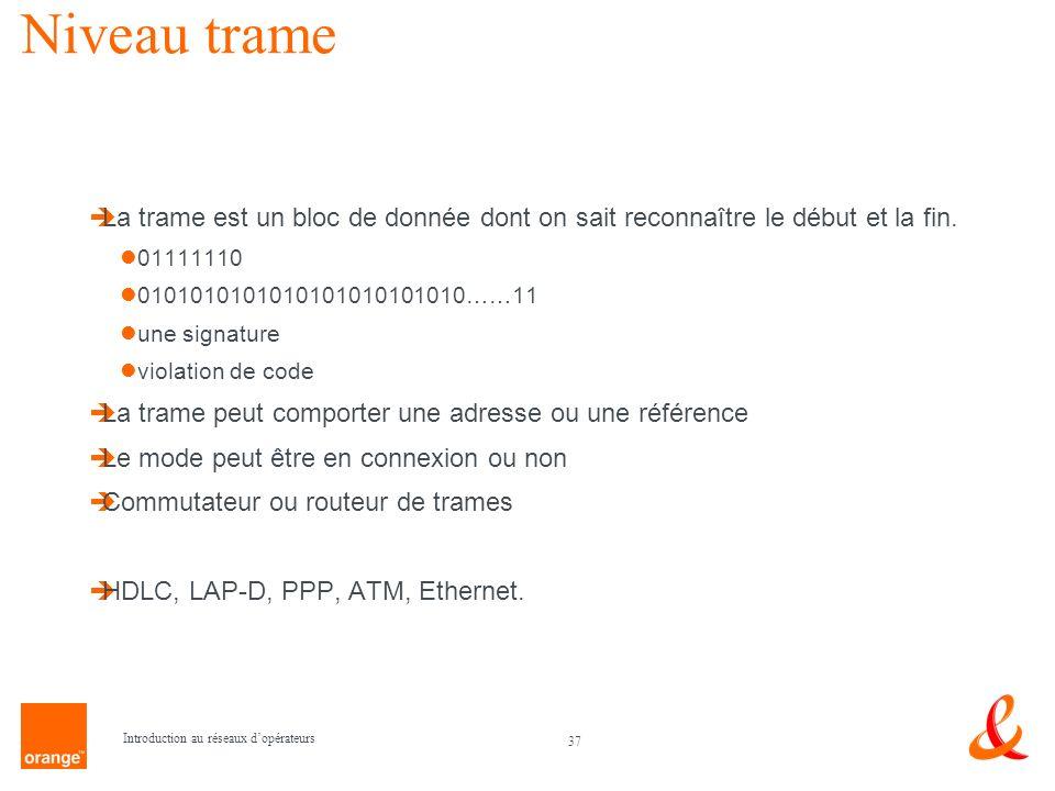 Niveau trame La trame est un bloc de donnée dont on sait reconnaître le début et la fin. 01111110.