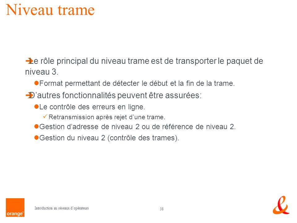 Niveau trame Le rôle principal du niveau trame est de transporter le paquet de niveau 3.