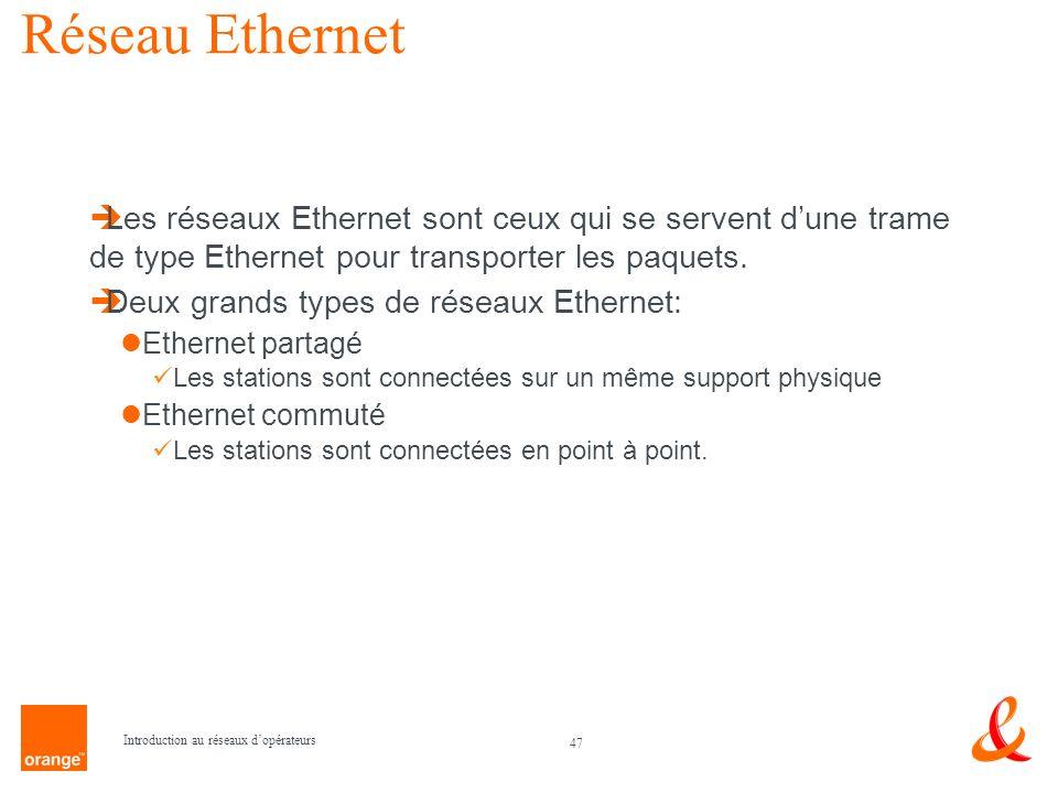 Réseau Ethernet Les réseaux Ethernet sont ceux qui se servent d'une trame de type Ethernet pour transporter les paquets.
