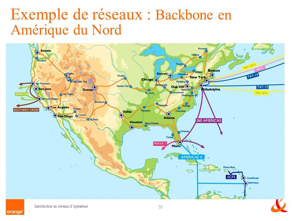 Exemple de réseaux : Backbone en Amérique du Nord