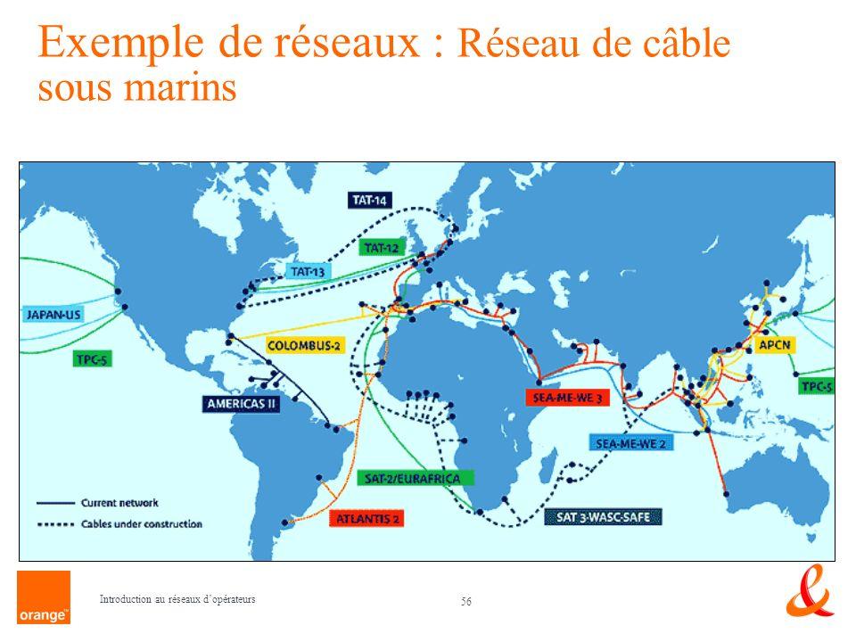 Exemple de réseaux : Réseau de câble sous marins
