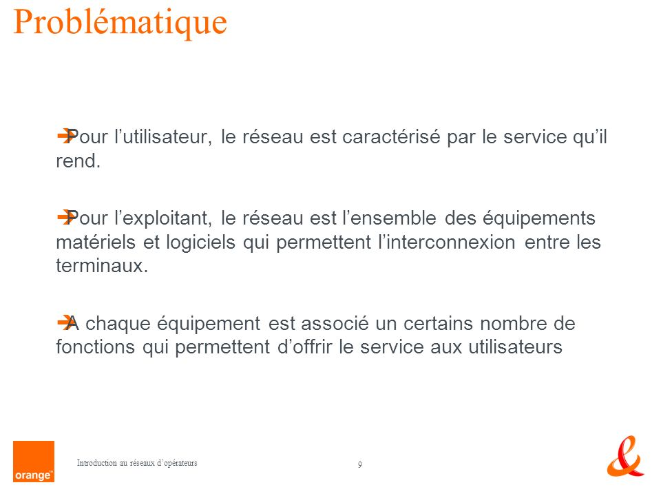 Problématique Pour l'utilisateur, le réseau est caractérisé par le service qu'il rend.