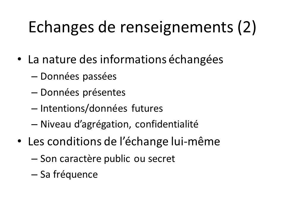 Echanges de renseignements (2)