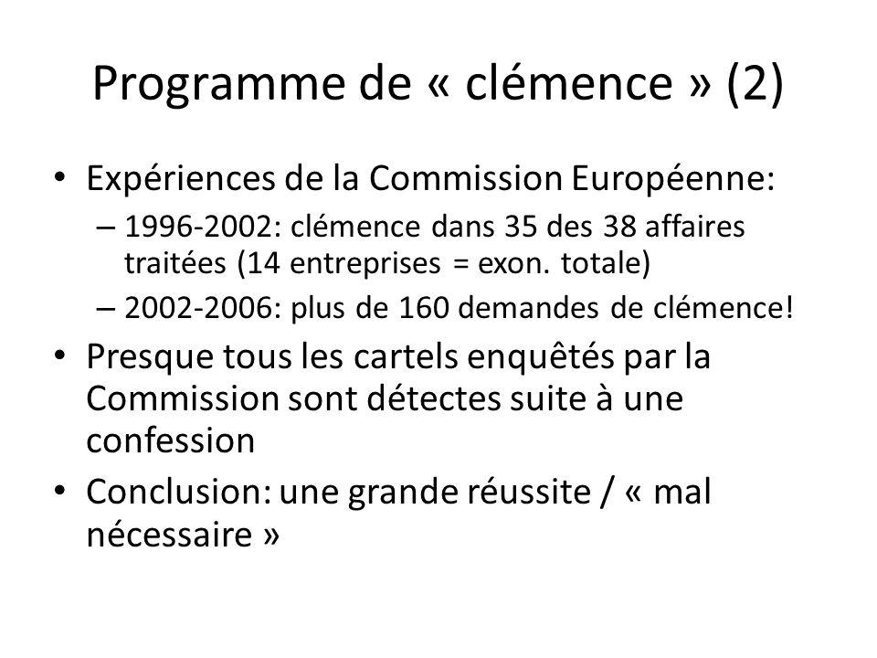 Programme de « clémence » (2)