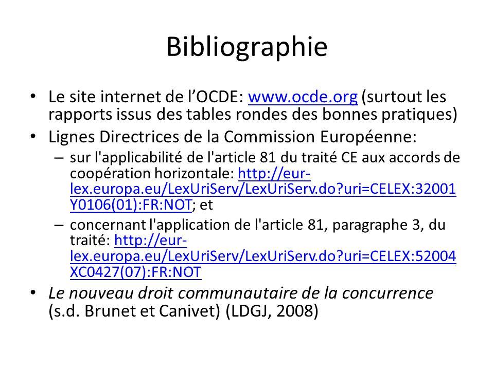 Bibliographie Le site internet de l'OCDE: www.ocde.org (surtout les rapports issus des tables rondes des bonnes pratiques)