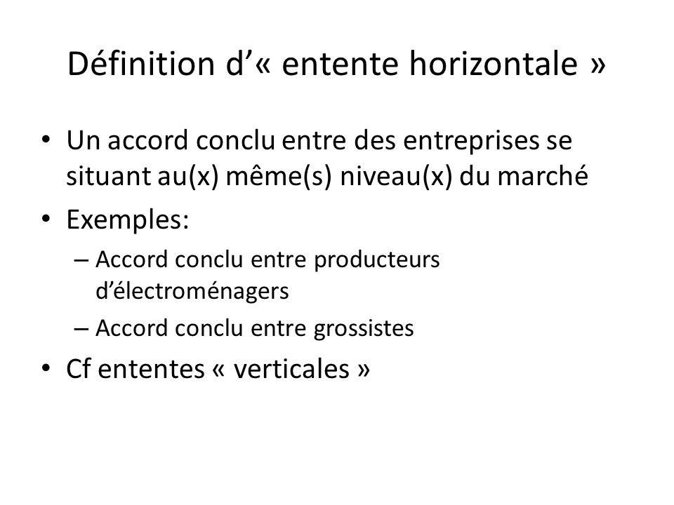 Définition d'« entente horizontale »