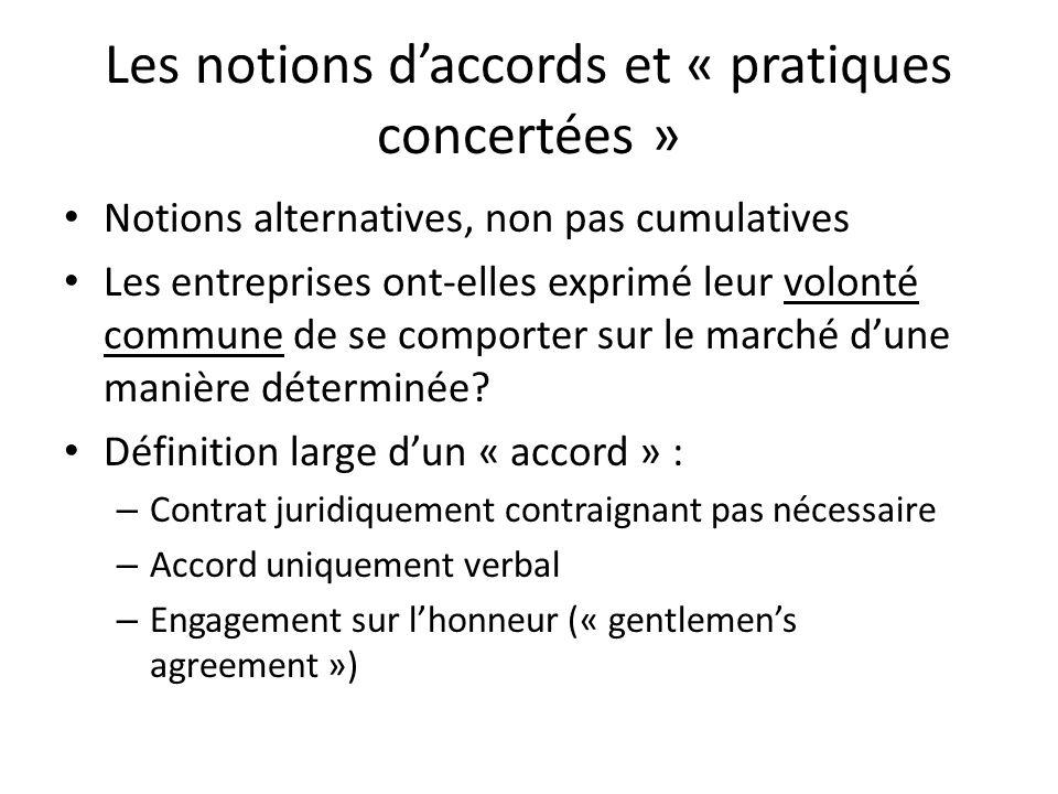Les notions d'accords et « pratiques concertées »