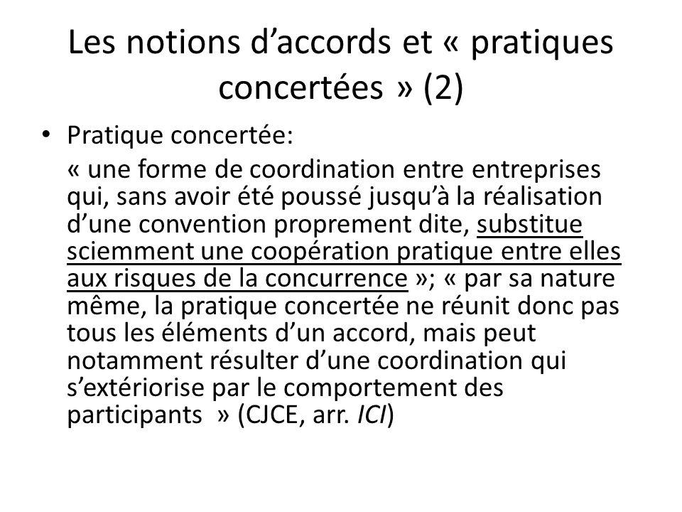 Les notions d'accords et « pratiques concertées » (2)