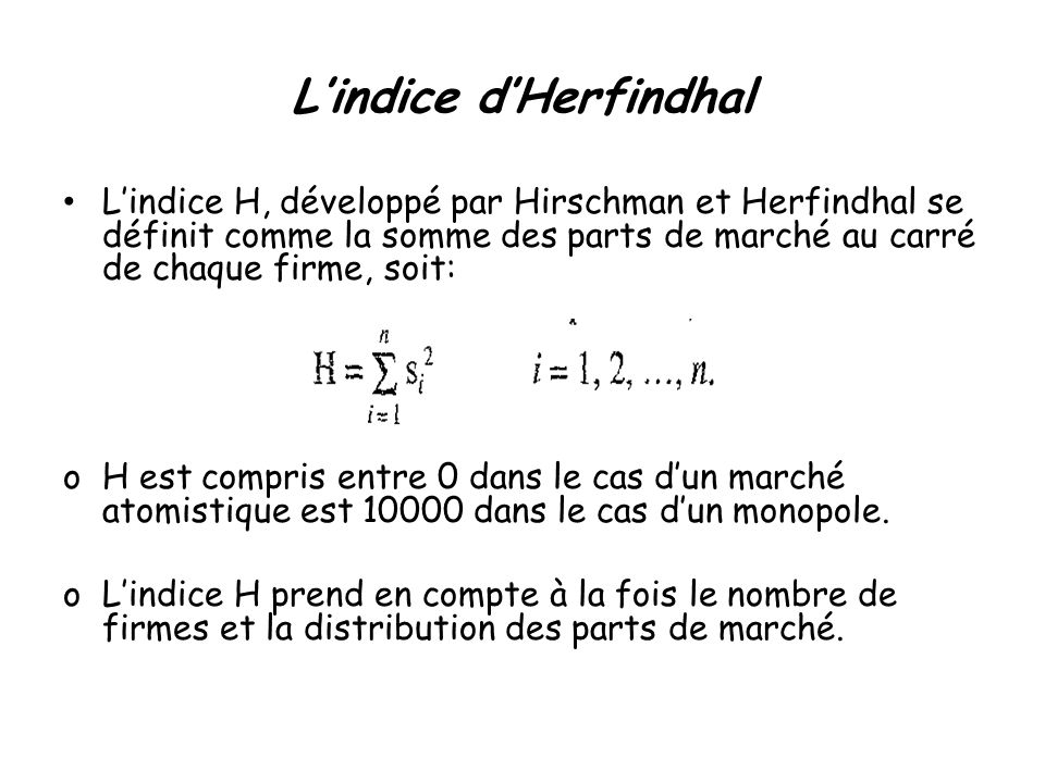 L'indice d'Herfindhal