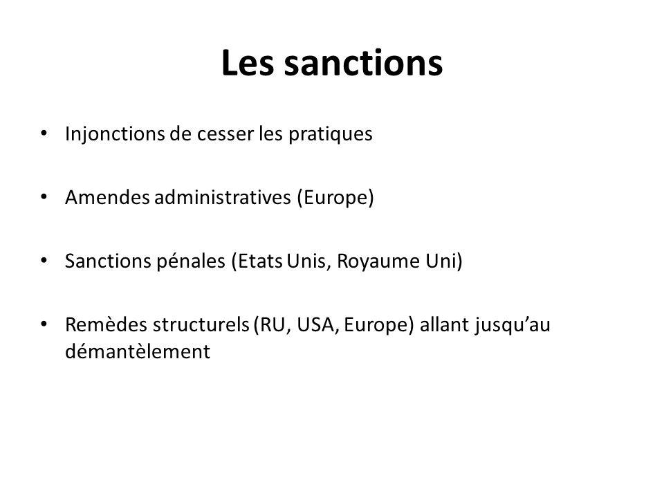 Les sanctions Injonctions de cesser les pratiques