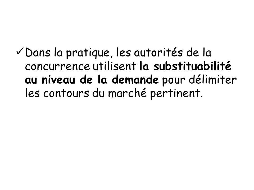 Dans la pratique, les autorités de la concurrence utilisent la substituabilité au niveau de la demande pour délimiter les contours du marché pertinent.