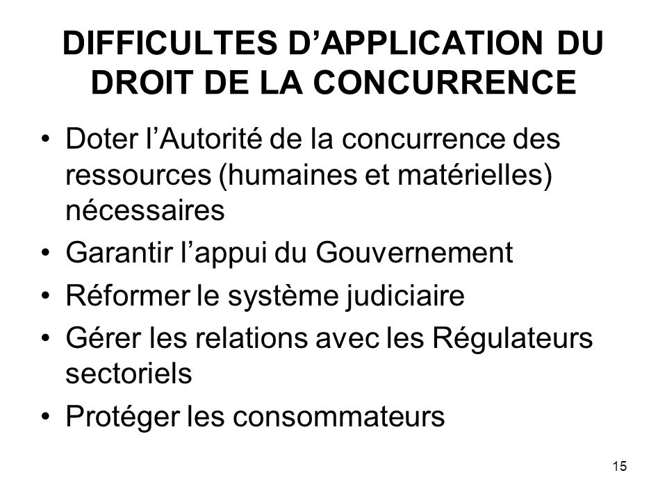 DIFFICULTES D'APPLICATION DU DROIT DE LA CONCURRENCE