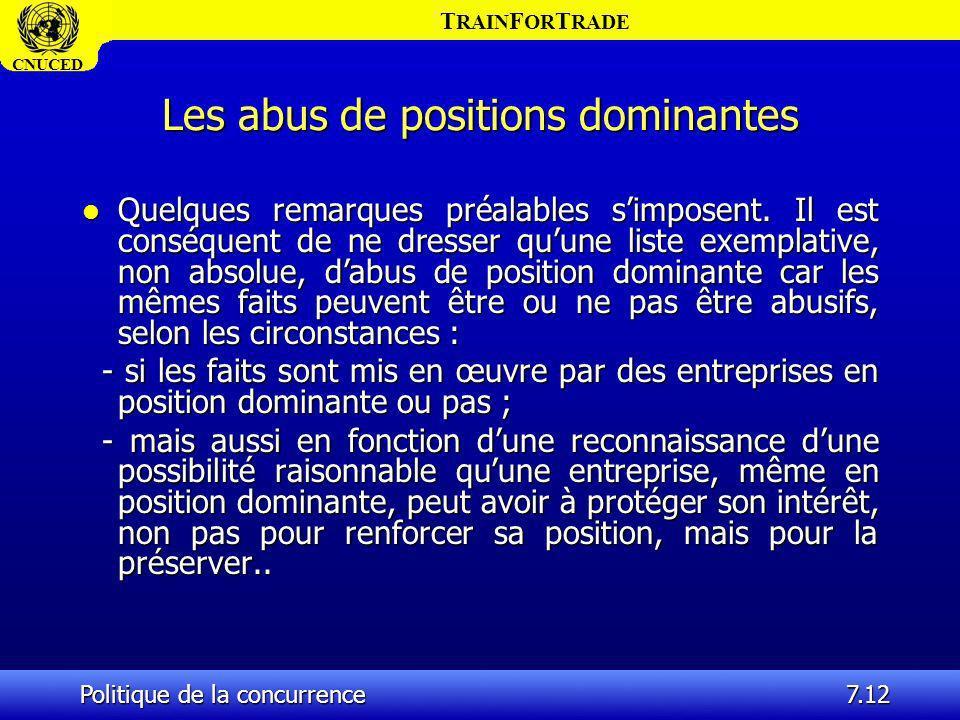 Les abus de positions dominantes