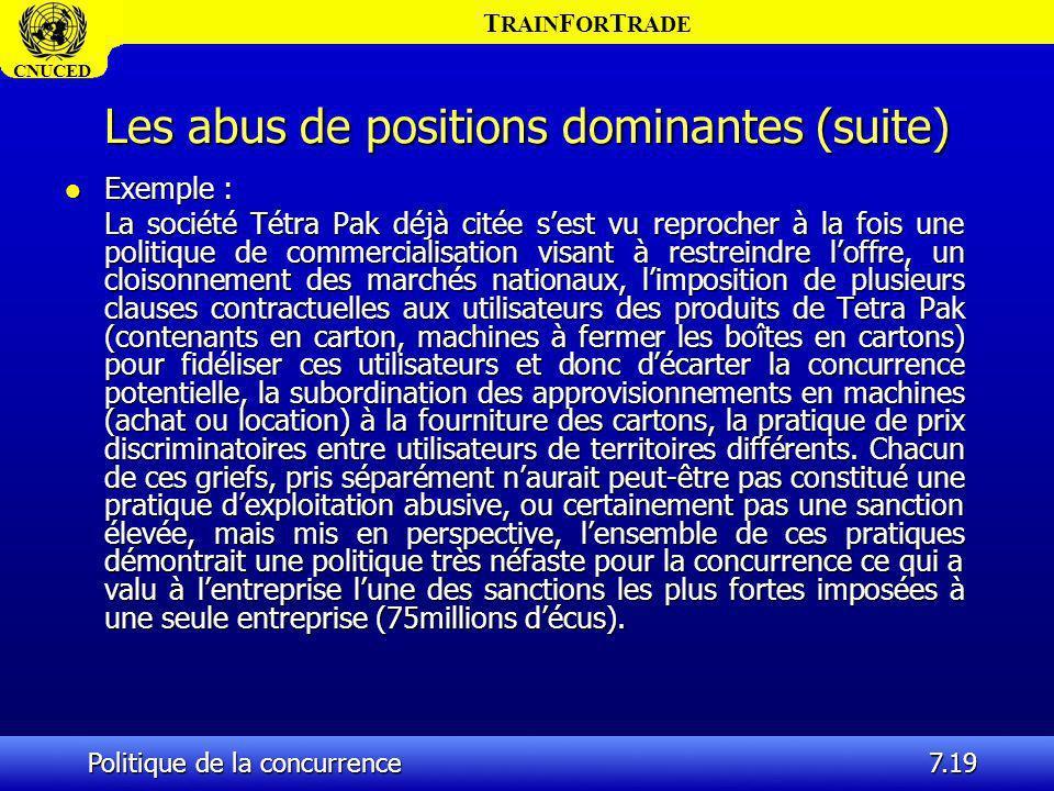 Les abus de positions dominantes (suite)