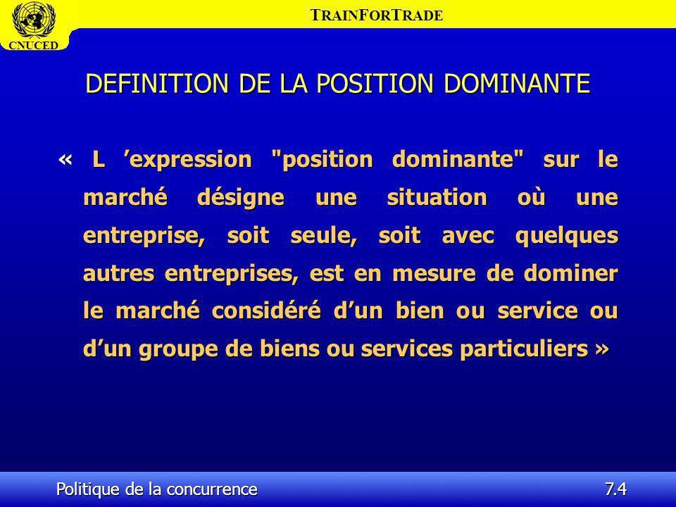 DEFINITION DE LA POSITION DOMINANTE